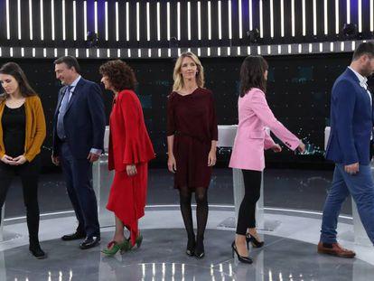 Los participantes del debate a seis en TVE.