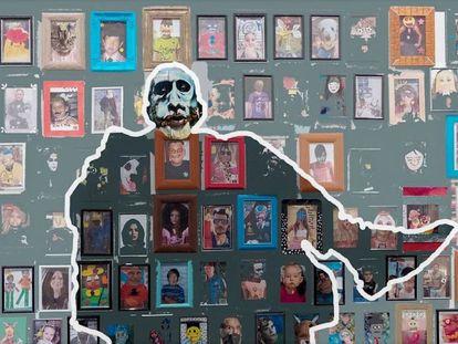 """Personaje siete. El fondo es un fragmento de las producciones de los estudiantes del Colegio """"Ntra. Sra. de la Candelaria"""" en Benagalbón, Málaga."""