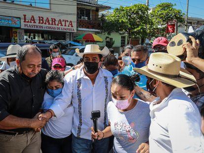 Félix Salgado Macedonio se ha manifestado hoy en Chilpancingo acompañado de sus seguidores.