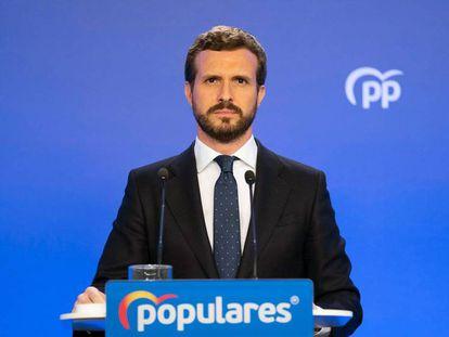 Pablo Casado, durante la rueda de prensa que ha ofrecido este jueves.