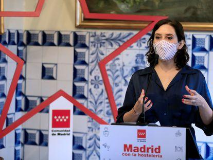 La presidenta de la Comunidad de Madrid, Isabel Díaz Ayuso, el martes en el restaurante Casa Botín.