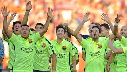 Jugadores del Barcelona celebrando el título de Liga.