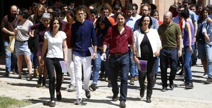 Representantes de Podemos presentando la campaña el jueves pasado.