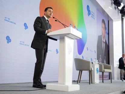 Volodímir Zelenski, durante su intervención en la cumbre anual del YES en Kiev.