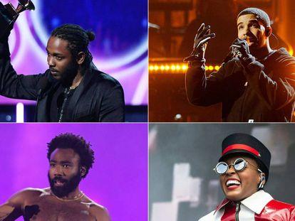 De izquierda a derecha y de arriba abajo: Kendrick Lamar, Drake, Childish Gambino y Janelle Monáe.