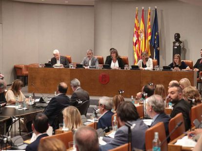 Pleno de la Diputación de Barcelona presidido por Núria Marín.