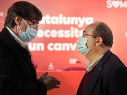 El ministro de Sanidad, Salvador Illa, y el primer secretario del PSC, Miquel Iceta.