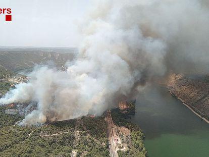 Incendio en La Pobla de Massaluca (Tarragona).