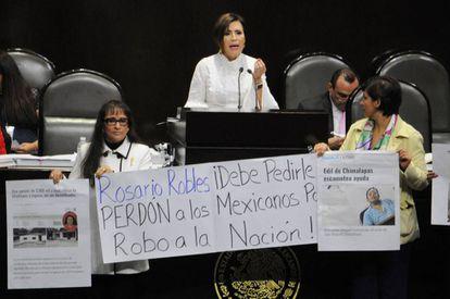La ministra Rosario Robles, durante su comparecencia en la Cámara de Diputados.