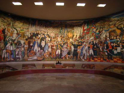 El 'Retablo de la Independencia', del pintor mexicano Juan O'Gorman, que se exhibe en el Museo Nacional de Historia del Castillo de Chapultepec, en Ciudad de México.