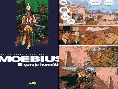 Dibujo de la portada de <i>Mayor Fatal 1. El garaje hermético</i> (a la izquierda) y viñetas de <i>Blueberry 45. Dust,</i> de Moebius (ambos en Norma Editorial).