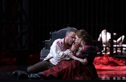 The tortured Mario (Joseph Calleja) and his beloved Tosca (Sondra Radvanovsky), in the second act of the opera.