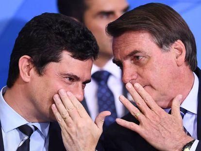 El ministro de Justicia de Brasil, Sergio Moro, y el presidente brasileño Jair Bolsonaro.