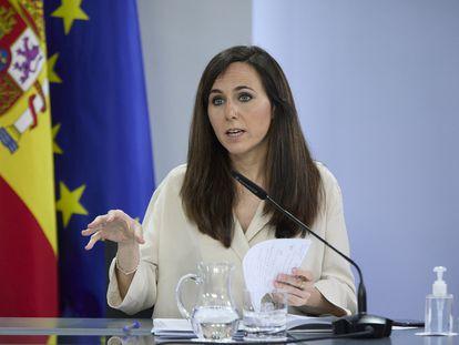 La ministra de Derechos Sociales, Ione Belarra, este martes durante la rueda de prensa tras el Consejo de Ministros.