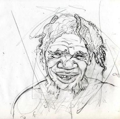 Ilustración de un joven neandertal.