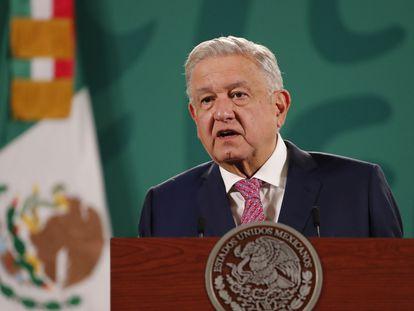 Andrés Manuel López Obrador, presidente de México, en su conferencia matutina de este lunes.