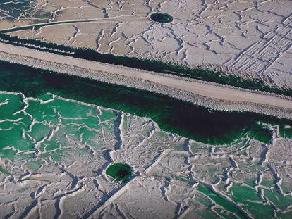Vista aérea de las balsas de fosfoyesos de Huelva.