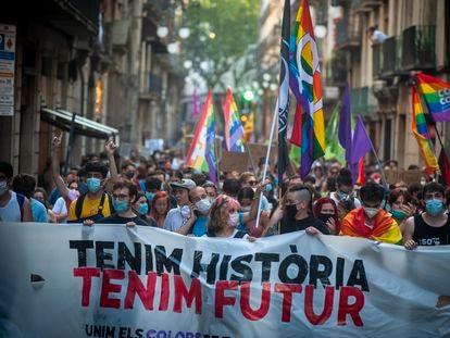 Barcelona, 27/06/2020. Manifestacion LGBTI en la plaza Universitat. (Foto: JUAN BARBOSA)