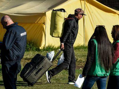 Un campamento de migrantes venezolanos en Bogotá.