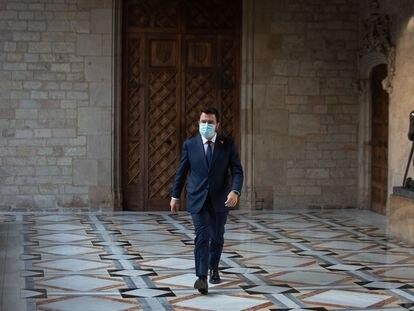 El presidente Pere Aragonès, en el Palau de la Generalitat. David Zorrakino / Europa Press