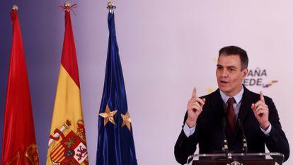 Pedro Sánchez tras la presentación del Plan de Recuperación, Transformación y Resiliencia de la Economía Española.