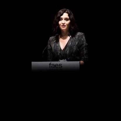 La presidenta de la Comunidad de Madrid en funciones, Isabel Díaz Ayuso, interviene durante la entrega del X Premio FAES de la Libertad al líder opositor venezolano Juan Guaidó por videoconferencia, en el Auditorio de CaixaForum, a 27 de mayo de 2021, en Madrid (España). El patronato de FAES, a propuesta de José María Aznar concedió por unanimidad el X Premio FAES de la Libertad a Juan Guaidó, por prestigiar la causa democrática de Venezuela y concitar la solidaridad internacional con ella, así como un reconocimiento a su resistencia y respeto a la institucionalidad. 27 MAYO 2021;FAES;VENEZUELA;PREMIOS;JOSÉ MARÍA AZNAR;SOLIDARIDAD;INTERNACIONAL Alejandro Martínez Vélez / Europa Press 27/05/2021