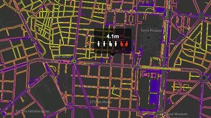 Captura de la herramienta de Inspide que permite conocer la anchura de las calles de Madrid.