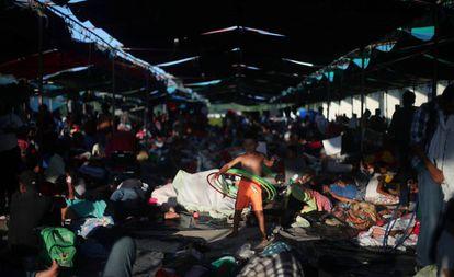 Un niño migrante en un campamento en Juchitán (México).