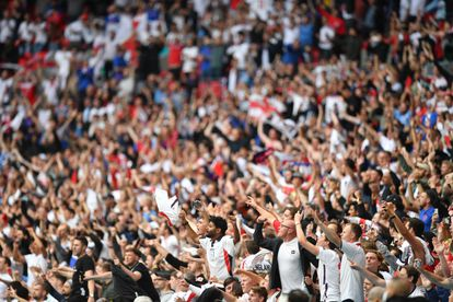 English fans celebrate victory over Germany at Wembley.
