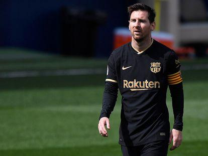Leo Messi, en un partido Villarreal - F. C. Barcelona disputado en Villarreal el 25 de abril de 2021.