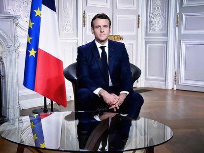El presidente francés, Emmanuel Macron, durante el tradicional discurso de fin de año.
