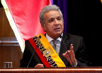El presidente de Ecuador, Lenín Moreno, este domingo en Quito.
