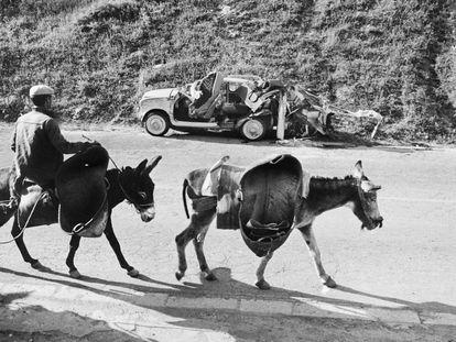 La galería Blanca Berlín, de Madrid, expone casi 40 fotografías de Ramón Masats pertenecientes a los inicios de su carrera, en los años cincuenta. Esta imagen se titula 'Aracena' (1959), localidad de Huelva.