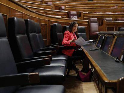 La ministra de Defensa, Margarita Robles, durante la sesión de control al Gobierno en el Congreso este miércoles.