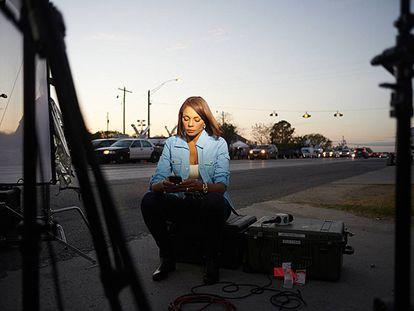 Illia Calderón esta semana en la cobertura de la matanza en la iglesia de Texas.