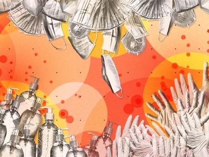 Ilustración con mascarillas, geles hidroalcohólicos, bastoncillos y guantes.