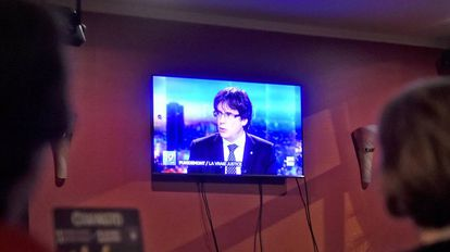Carles Puigdemont durante su entrevista en la TV belga