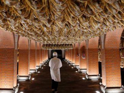 Jamones en un secadero de Jabugo (Huelva).