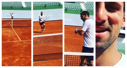 Djokovic pelotea con Carlos Gómez-Herrera en el Club de Tenis Puente Romano de Marbella.