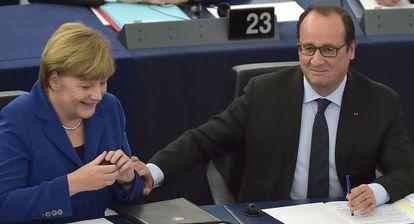Merkel y Hollande, este miércoles en Estrasburgo.