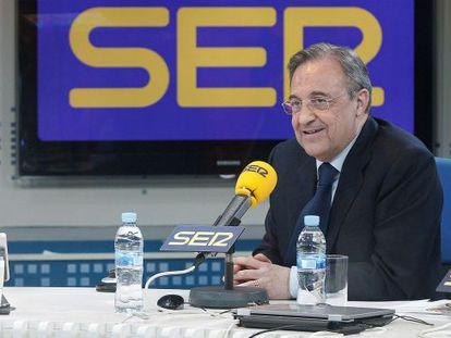 Florentino Pérez, antes de la entrevista en la SER.