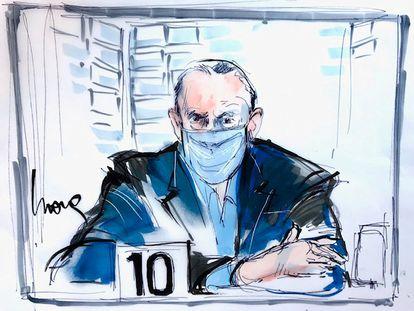 Una ilustración de Cienfuegos durante su audiencia en Los Ángeles.
