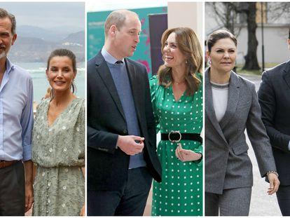 Desde la izquierda: Los reyes Felipe y Letizia; Guillermo de Inglaterra y Kate Middleton; y Victoria y Daniel de Suecia.