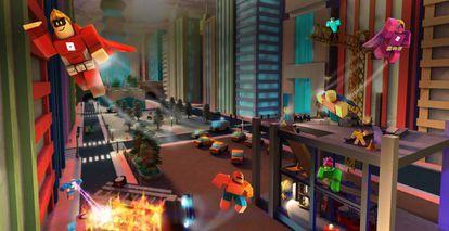 Imagen promocional de Roblox con varios de los elementos que pueden encontrarse en su plataforma.