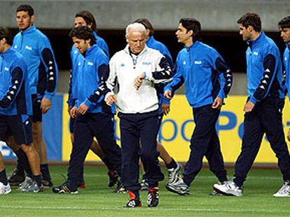 Giovanni Trapattoni, durante una sesión preparatoria de la selección italiana.