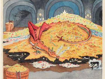 Acuarela de Tolkien para 'El hobbit' en 1937.