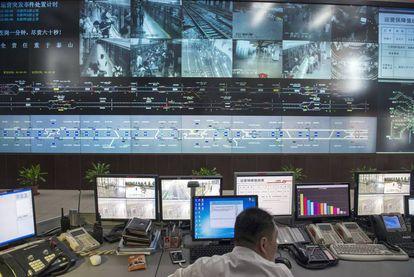 Centro de Control del Metro de Shanghái.