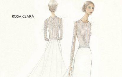 El boceto del vestido de novia de Mery Perelló de la diseñadora Rosa Clará.