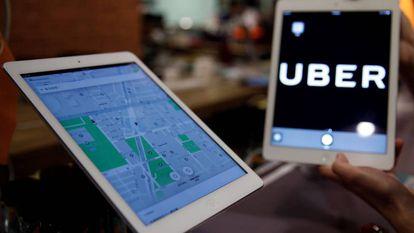 Un mapa de ruta de Uber.
