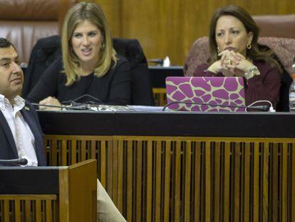 El líder del PP andaluz, Juan Manuel Moreno, este miércoles en el Parlamento.